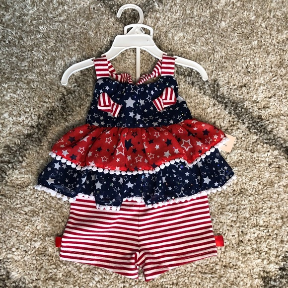 Little Lass Red, white & blue baby outfit 18 month